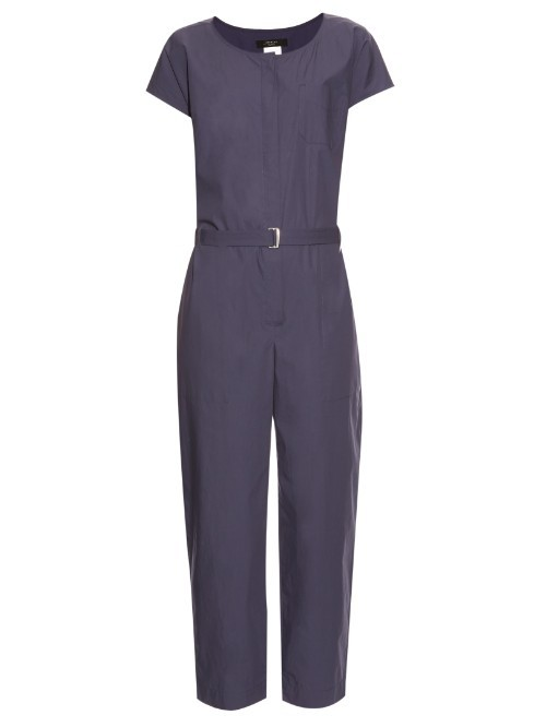Gedda Jumpsuit - length: standard; neckline: round neck; pattern: plain; waist detail: belted waist/tie at waist/drawstring; predominant colour: navy; occasions: casual; fit: body skimming; fibres: cotton - 100%; sleeve length: short sleeve; sleeve style: standard; texture group: cotton feel fabrics; style: jumpsuit; pattern type: fabric; season: s/s 2016; wardrobe: highlight