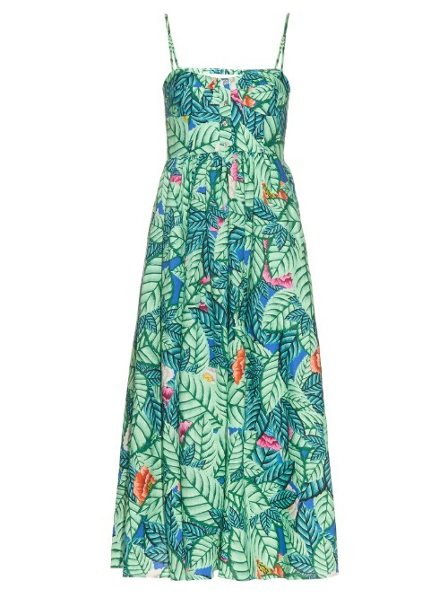 Leaf Print Linen Midi Dress - sleeve style: spaghetti straps; style: maxi dress; length: ankle length; neckline: sweetheart; predominant colour: emerald green; secondary colour: pistachio; occasions: casual; fit: body skimming; fibres: linen - 100%; sleeve length: sleeveless; pattern type: fabric; pattern: florals; texture group: other - light to midweight; multicoloured: multicoloured; season: s/s 2016; wardrobe: highlight