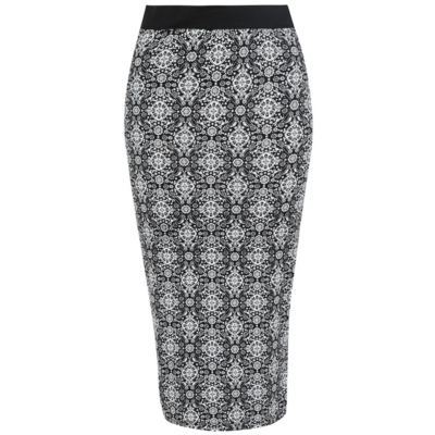 Tile Print Pencil Skirt Multi - length: below the knee; style: pencil; fit: tailored/fitted; waist: high rise; predominant colour: black; occasions: work, creative work; fibres: viscose/rayon - stretch; waist detail: feature waist detail; texture group: jersey - clingy; pattern type: fabric; pattern: patterned/print; pattern size: big & busy (bottom); season: s/s 2016; wardrobe: highlight