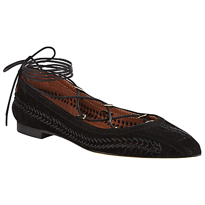 Hem Lace Up Pumps - predominant colour: black; occasions: casual, creative work; material: suede; heel height: flat; ankle detail: ankle tie; toe: pointed toe; style: ballerinas / pumps; finish: plain; pattern: plain; season: s/s 2016; wardrobe: basic