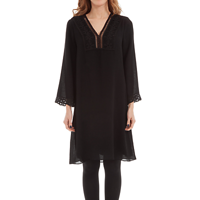 Lace Trim Crepe Dress, Black - style: tunic; neckline: v-neck; pattern: plain; predominant colour: black; length: on the knee; fit: soft a-line; fibres: polyester/polyamide - stretch; sleeve length: long sleeve; sleeve style: standard; texture group: crepes; pattern type: fabric; embellishment: lace; occasions: creative work; season: s/s 2016; wardrobe: highlight