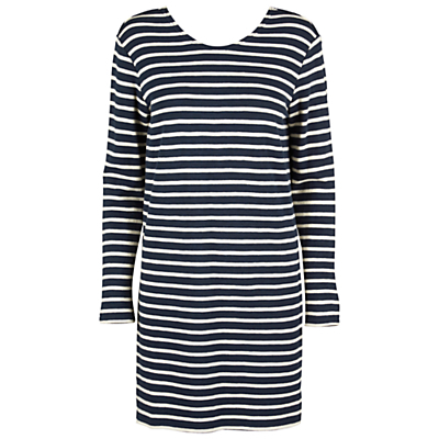 Damas Stripe Dress, Breton Blue - style: t-shirt; length: mid thigh; neckline: round neck; pattern: horizontal stripes; secondary colour: white; predominant colour: black; occasions: casual, creative work; fit: body skimming; fibres: cotton - stretch; sleeve length: long sleeve; sleeve style: standard; trends: monochrome, graphic stripes; pattern type: fabric; texture group: jersey - stretchy/drapey; season: s/s 2016; wardrobe: basic