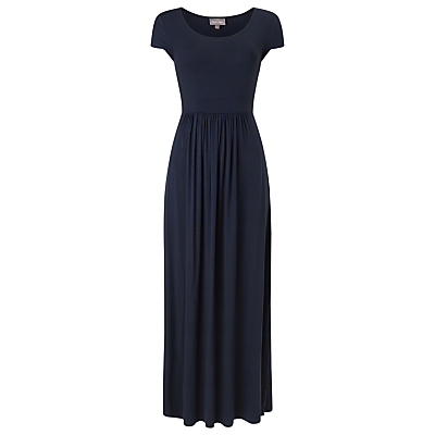 Tilda Maxi Dress, Navy - sleeve style: capped; fit: fitted at waist; pattern: plain; style: maxi dress; length: ankle length; waist detail: flattering waist detail; predominant colour: navy; occasions: casual, creative work; neckline: scoop; fibres: viscose/rayon - stretch; sleeve length: short sleeve; pattern type: fabric; texture group: jersey - stretchy/drapey; season: s/s 2016; wardrobe: basic