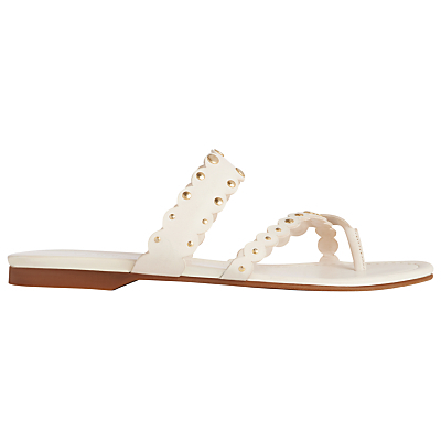 Allure Cross Strap Sandals - predominant colour: white; occasions: casual, holiday; material: leather; heel height: flat; heel: standard; toe: open toe/peeptoe; style: slides; finish: plain; pattern: plain; season: s/s 2016