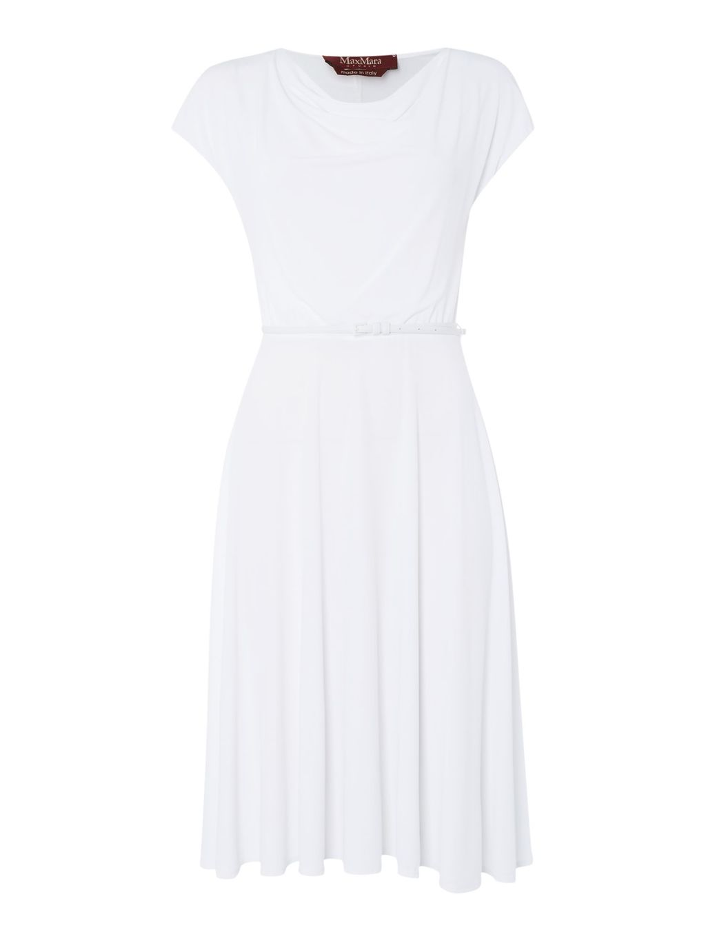 Decano Jersey Dress With Belt, White - style: shift; neckline: cowl/draped neck; sleeve style: capped; fit: fitted at waist; pattern: plain; waist detail: belted waist/tie at waist/drawstring; predominant colour: white; occasions: casual, occasion, creative work; length: on the knee; fibres: viscose/rayon - stretch; sleeve length: short sleeve; pattern type: fabric; texture group: jersey - stretchy/drapey; season: s/s 2016; wardrobe: basic