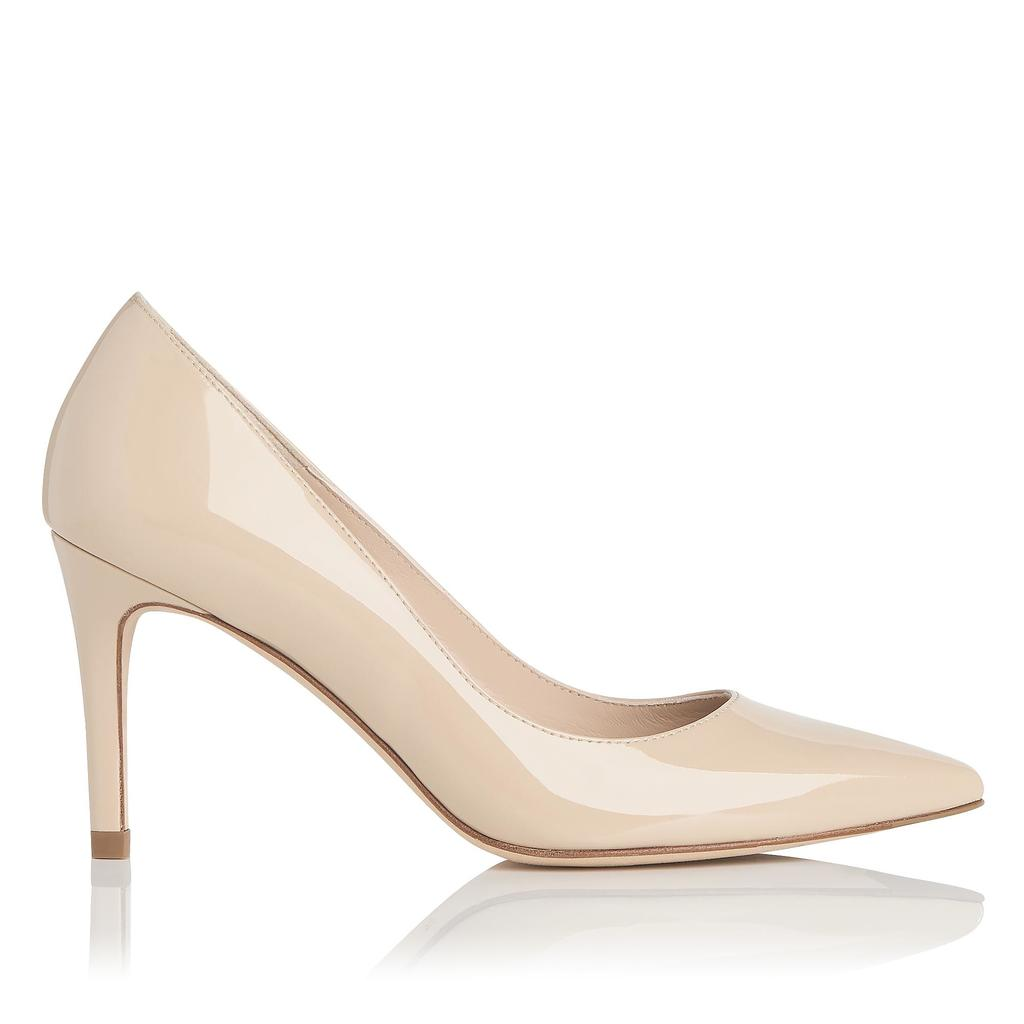 Floret Almond Milk Patent Closed Courts Neutral Almond Milk - predominant colour: ivory/cream; occasions: evening, occasion; material: leather; heel height: high; heel: stiletto; toe: pointed toe; style: courts; finish: patent; pattern: plain; season: s/s 2016; wardrobe: event