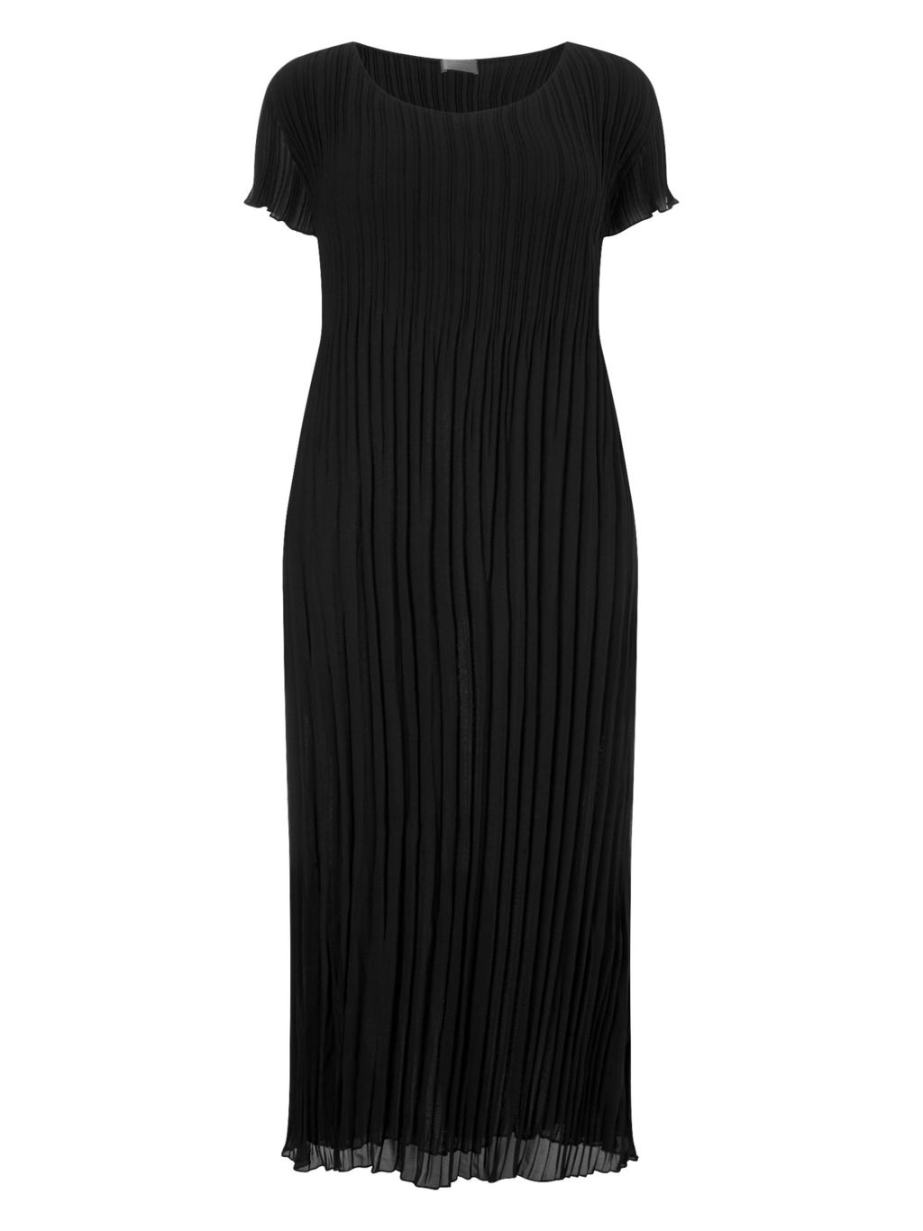 Black Crinkle Dress - style: shift; length: below the knee; neckline: round neck; pattern: plain; predominant colour: black; fit: body skimming; fibres: polyester/polyamide - 100%; occasions: occasion; sleeve length: short sleeve; sleeve style: standard; pattern type: fabric; texture group: other - light to midweight; season: s/s 2016