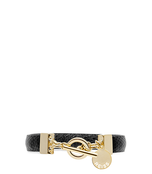 Pellie Reversible Leather Bracelet - secondary colour: gold; predominant colour: black; occasions: evening, creative work; style: buckle/wrap; size: standard; material: leather; finish: metallic; embellishment: chain/metal; season: s/s 2016; wardrobe: highlight