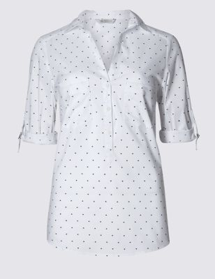 3/4 Sleeve Heart Print Popover Shirt - neckline: shirt collar/peter pan/zip with opening; style: blouse; pattern: polka dot; predominant colour: white; secondary colour: black; occasions: casual, creative work; length: standard; fibres: cotton - stretch; fit: body skimming; sleeve length: half sleeve; sleeve style: standard; texture group: cotton feel fabrics; pattern type: fabric; pattern size: light/subtle; season: s/s 2016; wardrobe: highlight