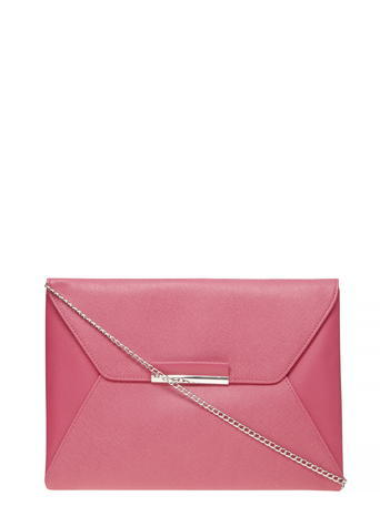 Womens Pink Envelope Clutch Bag Pink - predominant colour: pink; occasions: evening, occasion; type of pattern: standard; style: clutch; length: hand carry; size: standard; material: faux leather; pattern: plain; finish: plain; embellishment: chain/metal; season: s/s 2016; wardrobe: event