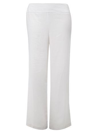 White Linen Blend Trousers - length: standard; pattern: plain; waist: mid/regular rise; predominant colour: white; occasions: evening, holiday; fibres: linen - mix; texture group: linen; fit: wide leg; pattern type: fabric; style: standard; trends: leisure; season: s/s 2016; wardrobe: highlight