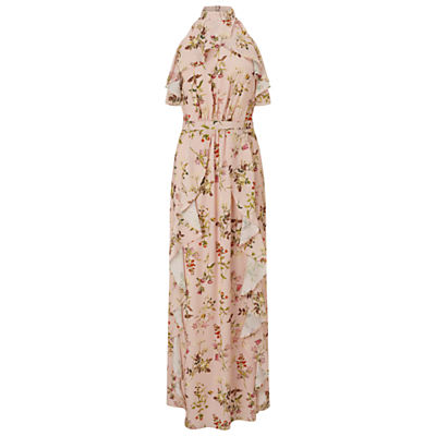 Printed Ruffle Maxi Dress, Multi - sleeve style: sleeveless; style: maxi dress; neckline: high neck; bust detail: subtle bust detail; predominant colour: blush; secondary colour: khaki; occasions: evening; length: floor length; fit: body skimming; fibres: polyester/polyamide - 100%; sleeve length: sleeveless; texture group: crepes; pattern type: fabric; pattern: florals; multicoloured: multicoloured; season: s/s 2016; wardrobe: event