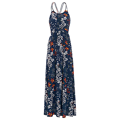 Bluebell Silk Buena Maxi Dress, Blue/White - neckline: round neck; sleeve style: sleeveless; style: maxi dress; length: ankle length; secondary colour: white; predominant colour: navy; occasions: evening; fit: body skimming; fibres: silk - 100%; sleeve length: sleeveless; texture group: crepes; pattern type: fabric; pattern: florals; multicoloured: multicoloured; season: s/s 2016; wardrobe: event