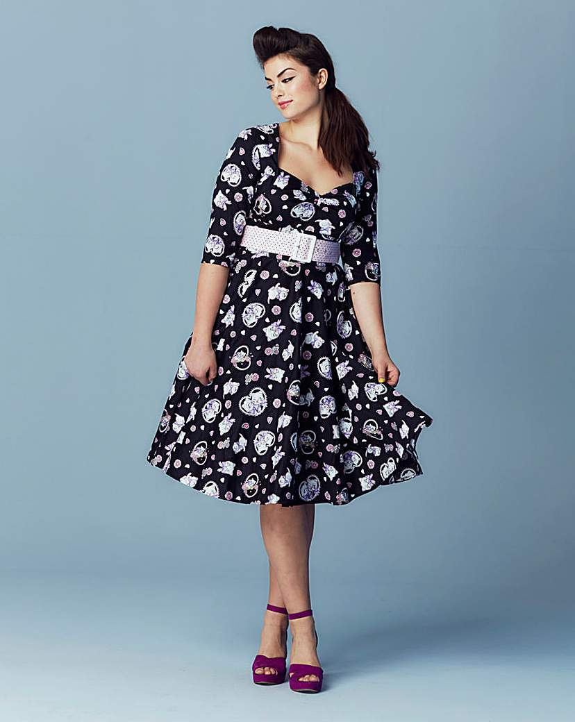 Hell Bunny Print Sweetheart Neck Dress - length: below the knee; neckline: sweetheart; waist detail: belted waist/tie at waist/drawstring; secondary colour: ivory/cream; predominant colour: black; occasions: evening; fit: fitted at waist & bust; style: fit & flare; fibres: cotton - 100%; sleeve length: 3/4 length; sleeve style: standard; pattern type: fabric; pattern: patterned/print; texture group: other - light to midweight; multicoloured: multicoloured; season: s/s 2016; wardrobe: event