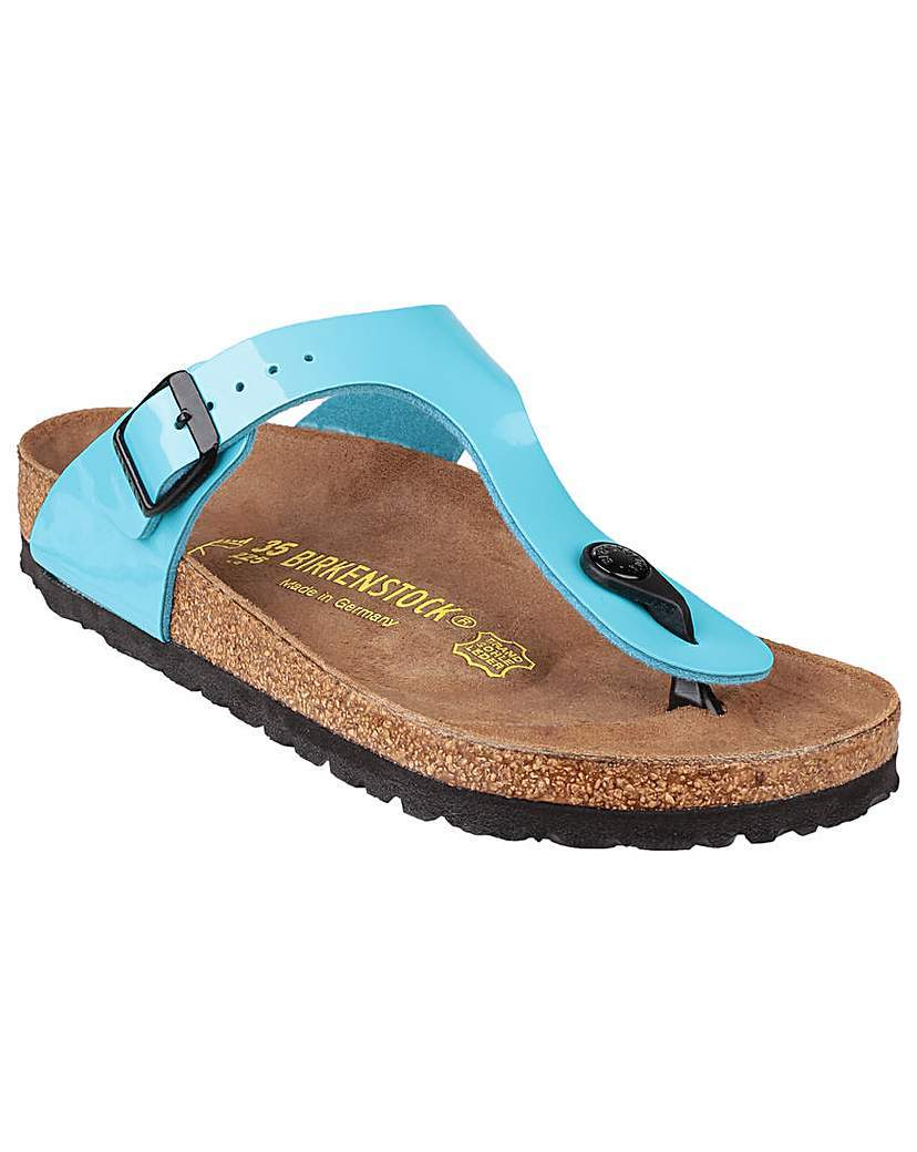 Ladies Gizeh Sandals - predominant colour: diva blue; occasions: casual, holiday; material: leather; heel height: flat; heel: standard; toe: toe thongs; style: flip flops; finish: patent; pattern: plain; shoe detail: tread; season: s/s 2016; wardrobe: highlight