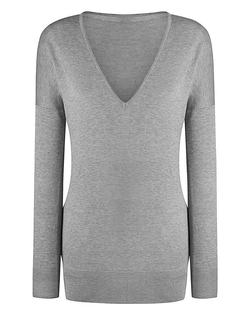 V Neck Jumper - neckline: v-neck; pattern: plain; style: standard; predominant colour: light grey; occasions: casual; length: standard; fit: slim fit; sleeve length: long sleeve; sleeve style: standard; texture group: knits/crochet; pattern type: fabric; fibres: viscose/rayon - mix; season: s/s 2016