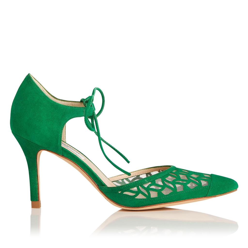 Fauna Green Suede Courts Green Apple - predominant colour: emerald green; occasions: occasion, creative work; material: leather; heel height: high; heel: stiletto; toe: pointed toe; style: courts; finish: plain; pattern: plain; season: s/s 2016; wardrobe: highlight