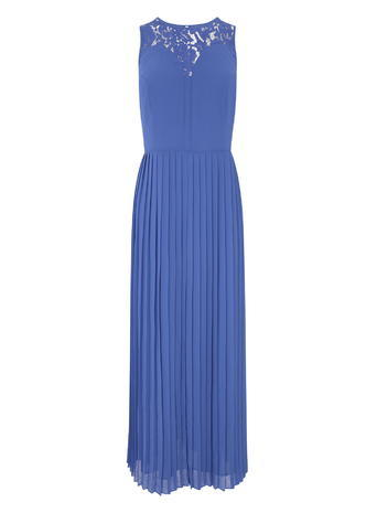 Pleated Lace Trim Maxi Dress, Cobalt Blue, Cobalt - fit: fitted at waist; pattern: plain; sleeve style: sleeveless; style: maxi dress; length: ankle length; predominant colour: diva blue; fibres: polyester/polyamide - 100%; occasions: occasion; neckline: crew; sleeve length: sleeveless; pattern type: fabric; texture group: other - light to midweight; embellishment: lace; shoulder detail: sheer at shoulder; season: s/s 2016; wardrobe: event; embellishment location: shoulder