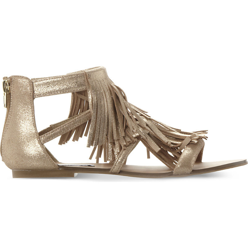 Favorit Metallic Leather Sandals, Women's, Eur 38 / 5 Uk Women, Gold Suede - predominant colour: gold; occasions: casual, holiday; material: leather; heel height: flat; embellishment: tassels; heel: standard; toe: open toe/peeptoe; style: gladiators; finish: metallic; pattern: plain; season: s/s 2016; wardrobe: highlight