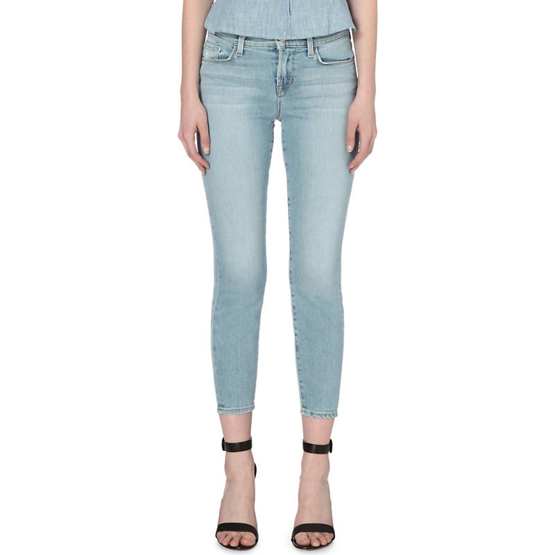 Skinny Mid Rise Capri Jeans, Women's, Beach Line - style: skinny leg; pattern: plain; pocket detail: traditional 5 pocket; waist: mid/regular rise; predominant colour: pale blue; occasions: casual; length: calf length; fibres: cotton - stretch; jeans detail: shading down centre of thigh, washed/faded; texture group: denim; pattern type: fabric; season: s/s 2016; wardrobe: basic