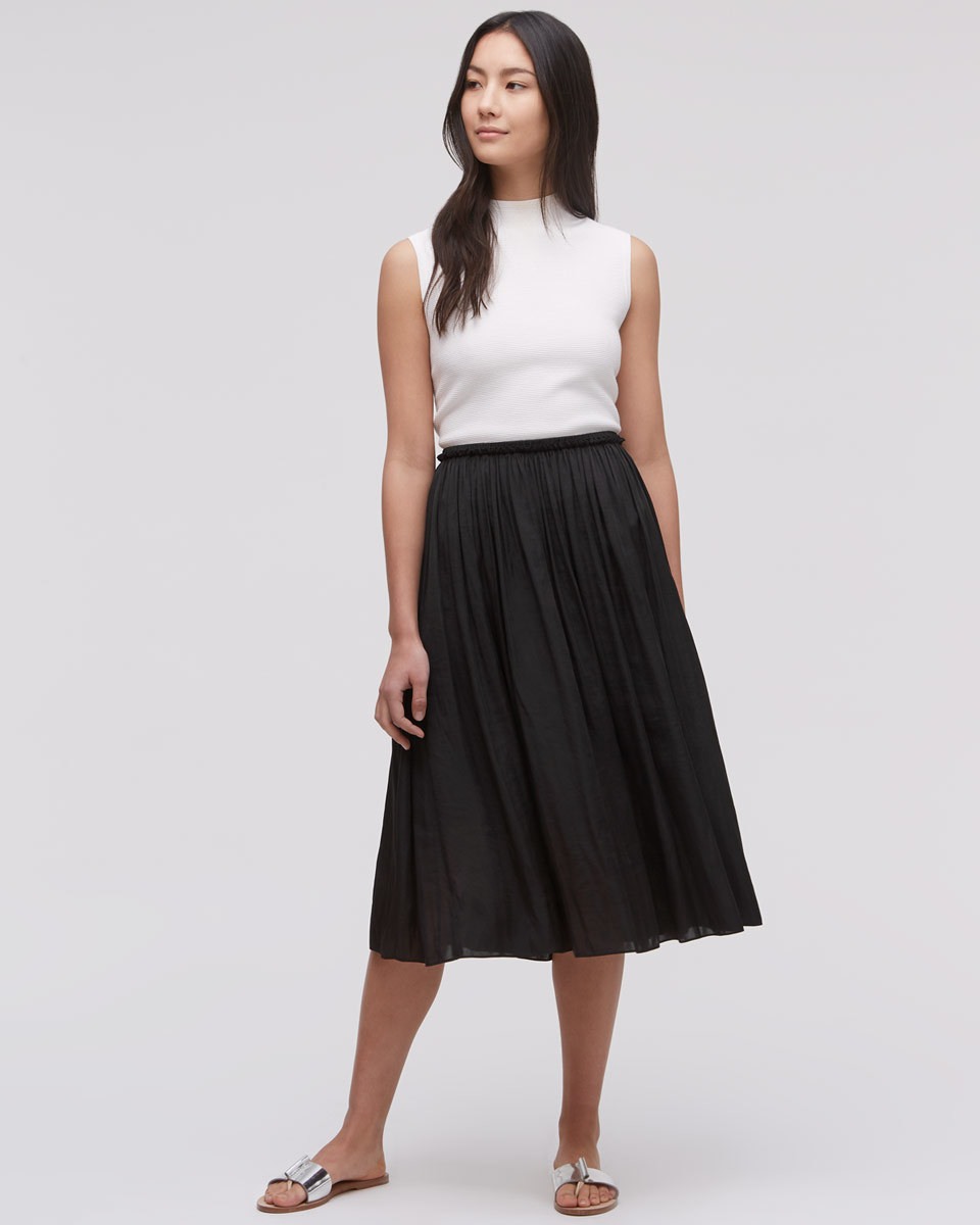 Crocus Drape Midi Skirt - length: calf length; pattern: plain; fit: body skimming; style: pleated; waist: mid/regular rise; predominant colour: black; occasions: casual; fibres: polyester/polyamide - 100%; pattern type: fabric; texture group: other - light to midweight; season: s/s 2016