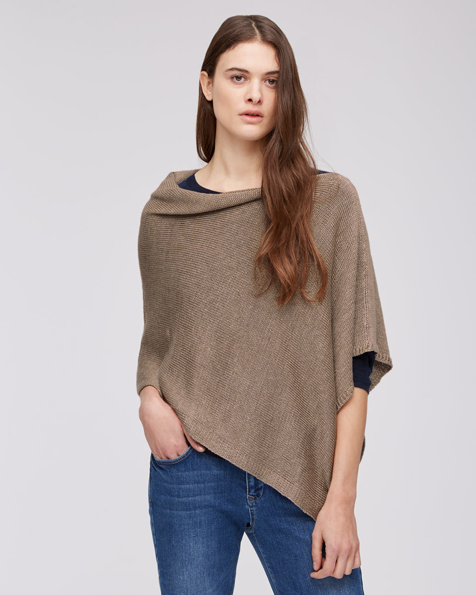 Linen Poncho - neckline: cowl/draped neck; sleeve style: dolman/batwing; pattern: plain; predominant colour: taupe; occasions: casual, creative work; length: standard; style: top; fibres: linen - 100%; fit: loose; sleeve length: 3/4 length; texture group: knits/crochet; pattern type: fabric; pattern size: standard; season: s/s 2016
