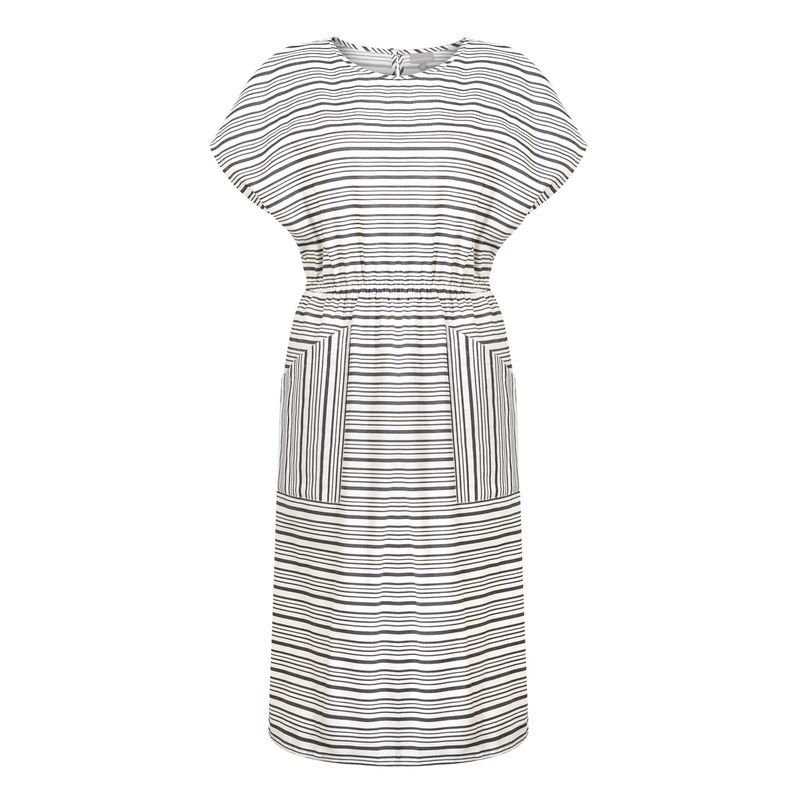 Ahoy Stripe Midi Dress - style: shift; length: below the knee; pattern: striped; secondary colour: white; predominant colour: black; occasions: casual; fit: body skimming; fibres: cotton - 100%; neckline: crew; sleeve length: short sleeve; sleeve style: standard; pattern type: fabric; texture group: jersey - stretchy/drapey; multicoloured: multicoloured; season: s/s 2016; wardrobe: highlight
