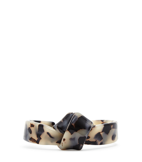 Coralie Twist Detail Cuff - predominant colour: stone; secondary colour: black; occasions: evening, creative work; style: bangle/standard; size: standard; material: plastic/rubber; finish: plain; season: s/s 2016; wardrobe: highlight