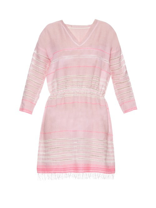 Almaz V Neck Striped Dress - style: tunic; length: mid thigh; neckline: v-neck; fit: fitted at waist; pattern: horizontal stripes; predominant colour: blush; secondary colour: blush; occasions: casual, holiday; fibres: cotton - 100%; sleeve length: long sleeve; sleeve style: standard; texture group: cotton feel fabrics; pattern type: fabric; pattern size: standard; season: s/s 2016; wardrobe: basic