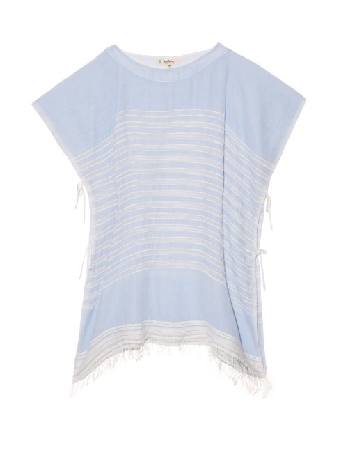 Alma Open Weave Stripe Top - pattern: horizontal stripes; style: t-shirt; secondary colour: white; predominant colour: pale blue; occasions: casual; length: standard; fibres: cotton - 100%; fit: loose; neckline: crew; sleeve length: short sleeve; sleeve style: standard; texture group: cotton feel fabrics; pattern type: fabric; pattern size: light/subtle; embellishment: embroidered; season: s/s 2016; wardrobe: highlight