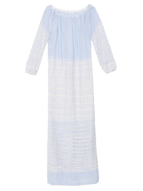 Almaz Off The Shoulder Dress - neckline: off the shoulder; fit: loose; pattern: horizontal stripes; style: maxi dress; length: ankle length; sleeve style: balloon; secondary colour: white; predominant colour: pale blue; fibres: cotton - 100%; sleeve length: long sleeve; texture group: cotton feel fabrics; occasions: holiday; pattern type: fabric; pattern size: light/subtle; season: s/s 2016; wardrobe: holiday