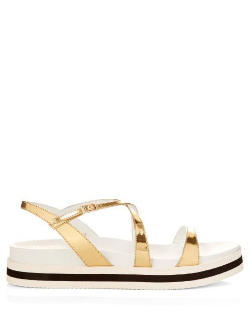 Eddy Flatform Sandals - predominant colour: gold; occasions: casual, creative work; material: leather; heel height: flat; heel: block; toe: open toe/peeptoe; style: strappy; finish: metallic; pattern: colourblock; shoe detail: platform; season: s/s 2016; wardrobe: highlight