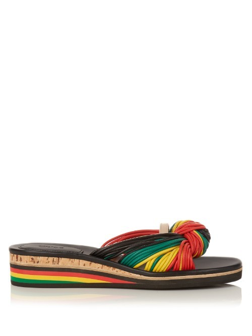 Knot Detail Leather Flatform - predominant colour: true red; secondary colour: emerald green; occasions: casual, holiday; material: leather; heel height: mid; heel: wedge; toe: open toe/peeptoe; style: slides; finish: plain; pattern: striped; multicoloured: multicoloured; season: s/s 2016; wardrobe: highlight