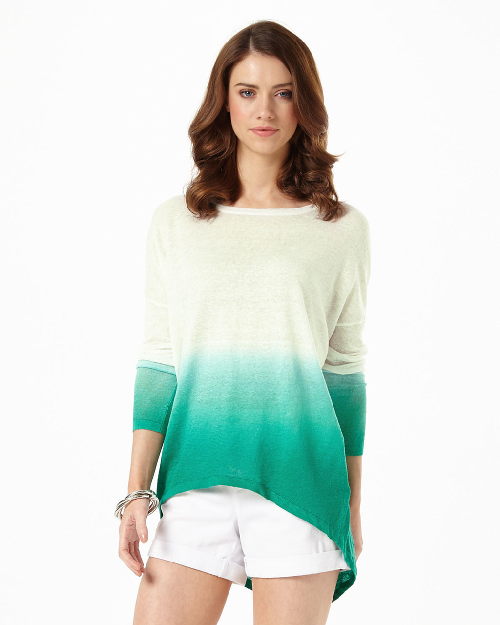 Dip Dye Elen Ellipse Jumper - length: below the bottom; style: standard; predominant colour: ivory/cream; secondary colour: mint green; occasions: casual; fibres: linen - 100%; fit: loose; neckline: crew; sleeve length: long sleeve; sleeve style: standard; texture group: knits/crochet; pattern type: fabric; pattern: colourblock; multicoloured: multicoloured; season: s/s 2016; wardrobe: highlight