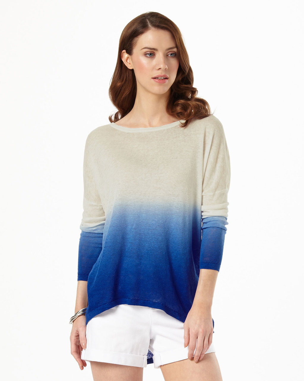 Dip Dye Elen Ellipse Jumper - neckline: round neck; length: below the bottom; style: tunic; predominant colour: ivory/cream; secondary colour: royal blue; occasions: casual; fibres: linen - 100%; fit: loose; sleeve length: long sleeve; sleeve style: standard; texture group: knits/crochet; pattern type: fabric; pattern: colourblock; multicoloured: multicoloured; season: s/s 2016; wardrobe: highlight