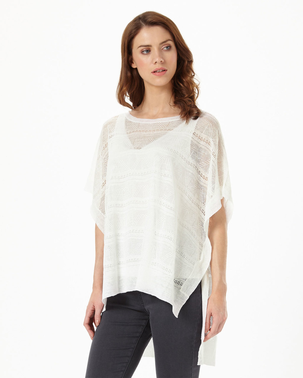 Dani Delicate Stitch Poncho - neckline: slash/boat neckline; sleeve style: dolman/batwing; pattern: horizontal stripes; style: poncho; predominant colour: white; occasions: casual; length: standard; fibres: cotton - mix; fit: loose; sleeve length: short sleeve; pattern type: knitted - fine stitch; pattern size: standard; texture group: net/tulle; season: s/s 2016; wardrobe: highlight