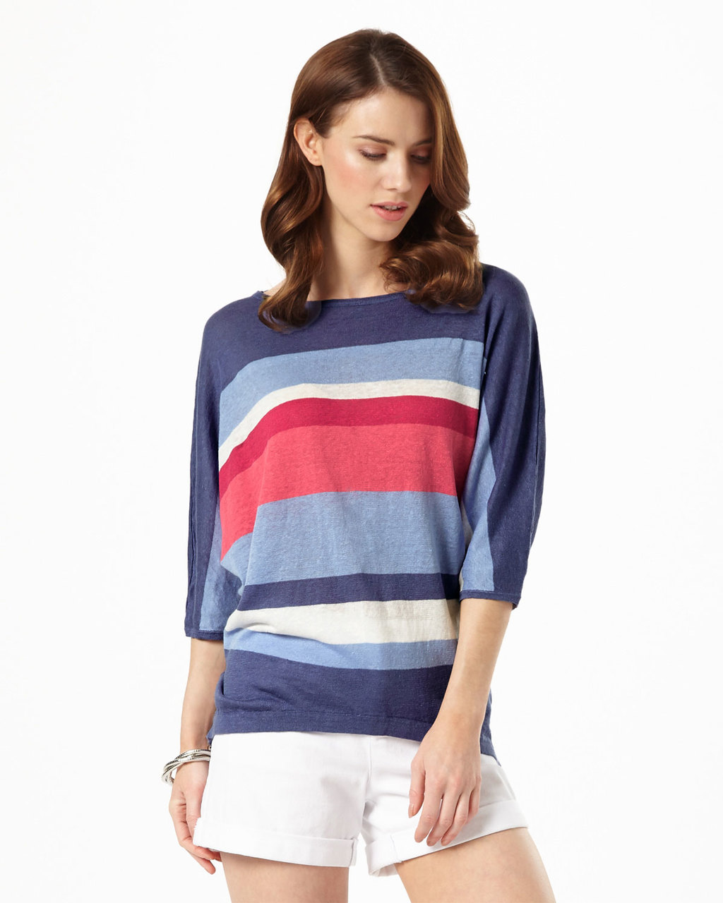 Sarah Stripe Linen Knit - neckline: slash/boat neckline; pattern: horizontal stripes; style: standard; secondary colour: pale blue; predominant colour: navy; occasions: casual; length: standard; fibres: linen - 100%; fit: loose; sleeve length: 3/4 length; sleeve style: standard; texture group: knits/crochet; pattern type: fabric; multicoloured: multicoloured; season: s/s 2016; wardrobe: highlight