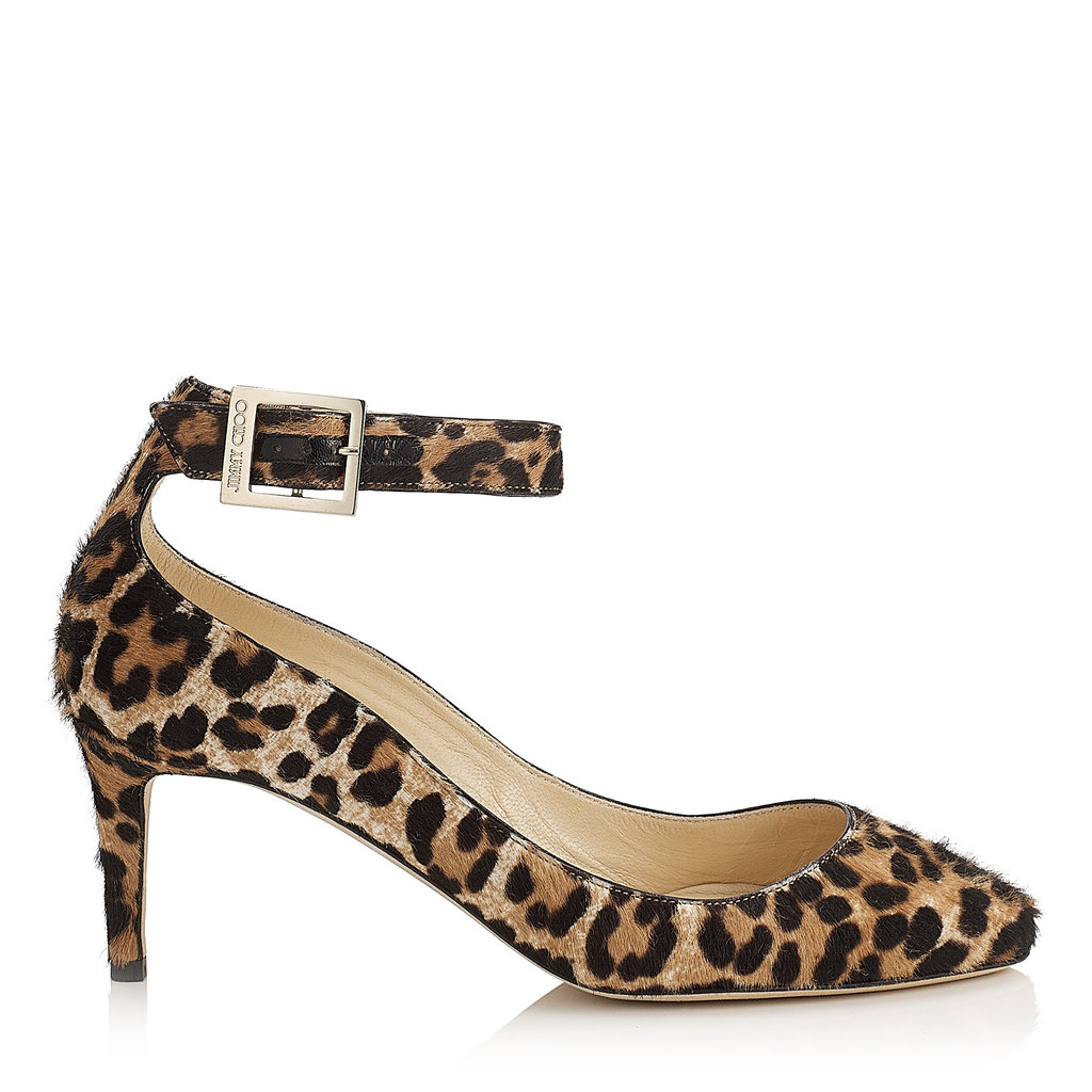 Helena 65 Leopard Print Pony Round Toe Pumps - predominant colour: camel; secondary colour: black; occasions: evening, occasion; material: animal skin; heel height: high; ankle detail: ankle strap; heel: stiletto; toe: round toe; style: courts; finish: plain; pattern: animal print; season: s/s 2016; wardrobe: event
