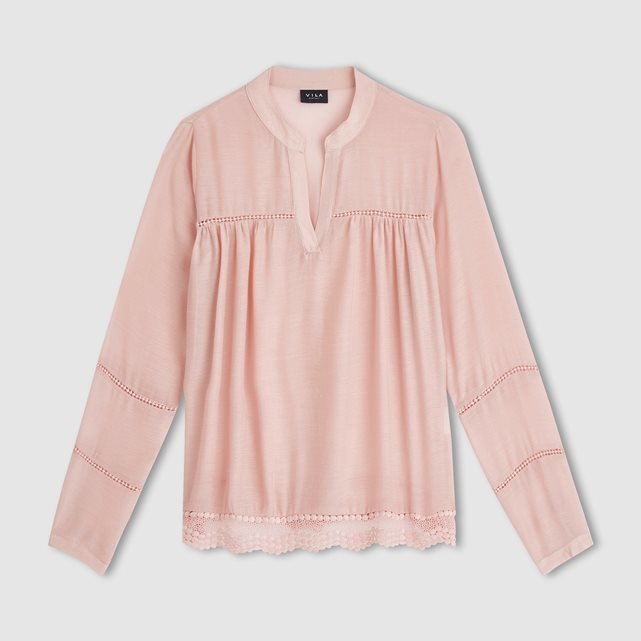Vifemme Top - pattern: plain; bust detail: ruching/gathering/draping/layers/pintuck pleats at bust; predominant colour: pink; occasions: casual, creative work; length: standard; style: top; neckline: collarstand & mandarin with v-neck; fit: body skimming; sleeve length: long sleeve; sleeve style: standard; pattern type: fabric; texture group: jersey - stretchy/drapey; fibres: viscose/rayon - mix; season: s/s 2016