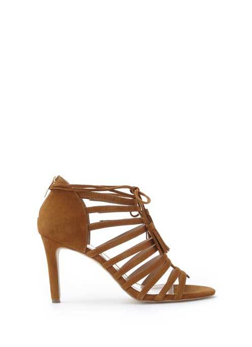 Tan Sage Strappy Sandal - predominant colour: tan; occasions: evening; material: suede; heel height: high; heel: stiletto; toe: open toe/peeptoe; style: strappy; finish: plain; pattern: plain; season: s/s 2016; wardrobe: event