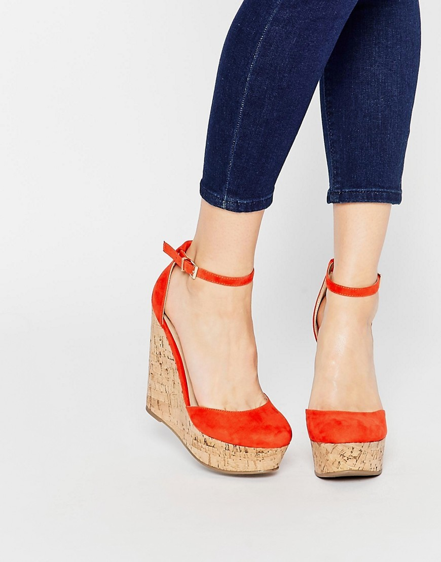 Oval Wedges Orange - predominant colour: bright orange; occasions: casual, creative work; ankle detail: ankle strap; heel: wedge; toe: round toe; style: courts; finish: plain; pattern: plain; heel height: very high; material: faux suede; shoe detail: platform; season: s/s 2016