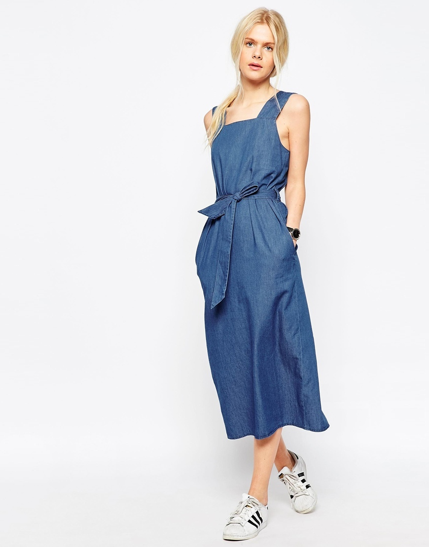 Denim Belted Midi Dress In Mid Wash Blue Midwash Blue - length: calf length; sleeve style: standard vest straps/shoulder straps; fit: fitted at waist; pattern: plain; style: dungaree dress/pinafore; waist detail: belted waist/tie at waist/drawstring; predominant colour: denim; occasions: casual, creative work; fibres: cotton - stretch; sleeve length: sleeveless; texture group: denim; neckline: low square neck; pattern type: fabric; season: s/s 2016; wardrobe: highlight
