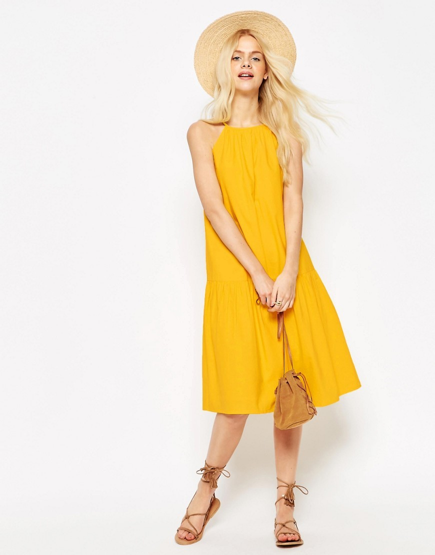 Tiered Linen Midi Sundress Yellow - length: below the knee; fit: loose; pattern: plain; sleeve style: sleeveless; style: sundress; predominant colour: yellow; occasions: casual; fibres: cotton - 100%; neckline: crew; sleeve length: sleeveless; texture group: linen; pattern type: fabric; season: s/s 2016