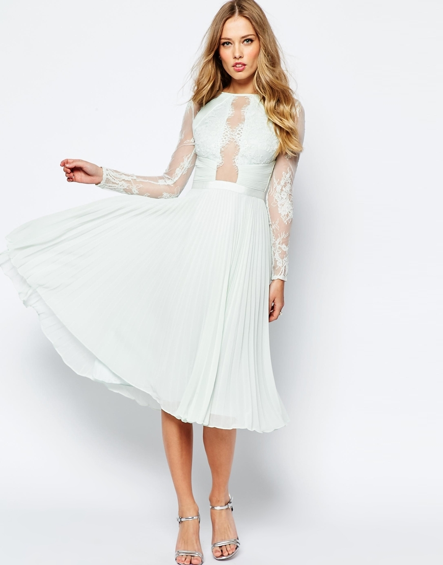 Wedding Pretty Lace Eyelash Pleated Midi Dress Mint - length: below the knee; pattern: plain; bust detail: sheer at bust; predominant colour: pale blue; occasions: evening; fit: fitted at waist & bust; style: fit & flare; fibres: polyester/polyamide - 100%; neckline: crew; sleeve length: long sleeve; sleeve style: standard; texture group: sheer fabrics/chiffon/organza etc.; pattern type: fabric; embellishment: lace; shoulder detail: sheer at shoulder; season: s/s 2016; wardrobe: event; embellishment location: sleeve/cuff, top