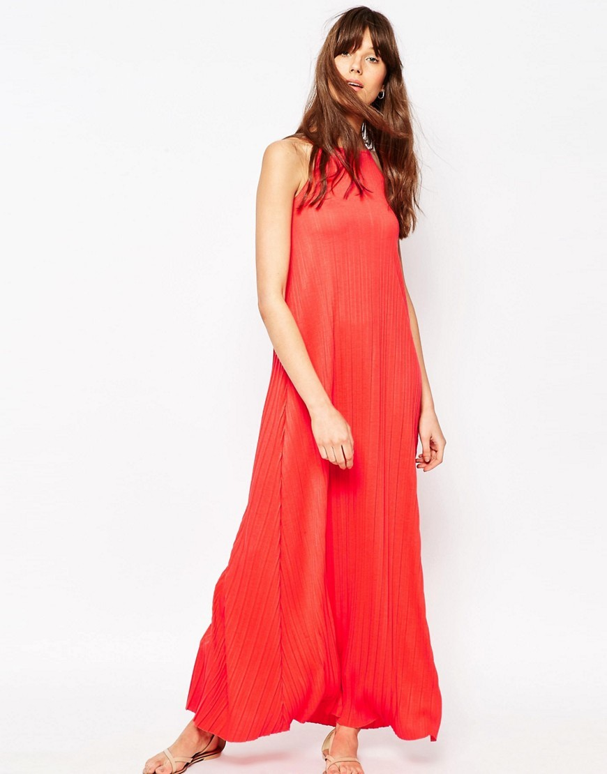 Pleated Swing Maxi Dress Red - pattern: plain; sleeve style: sleeveless; style: maxi dress; length: ankle length; predominant colour: bright orange; occasions: casual; fit: body skimming; fibres: polyester/polyamide - 100%; neckline: crew; sleeve length: sleeveless; pattern type: fabric; texture group: jersey - stretchy/drapey; season: s/s 2016; wardrobe: highlight
