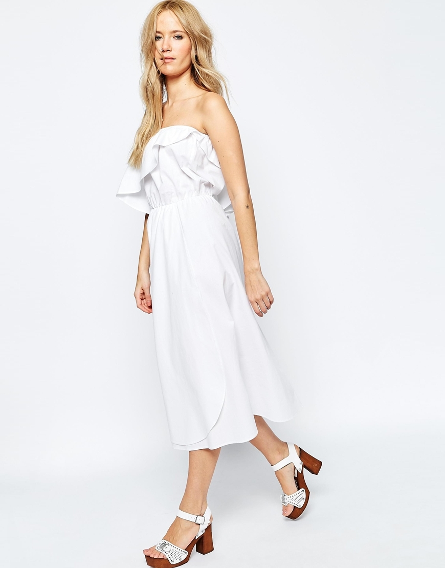 Frill Bandeau Midi Sundress In Clean Cotton White - length: below the knee; neckline: strapless (straight/sweetheart); fit: fitted at waist; pattern: plain; sleeve style: strapless; style: sundress; bust detail: ruching/gathering/draping/layers/pintuck pleats at bust; predominant colour: white; occasions: casual, holiday; fibres: cotton - 100%; sleeve length: sleeveless; texture group: cotton feel fabrics; pattern type: fabric; season: s/s 2016
