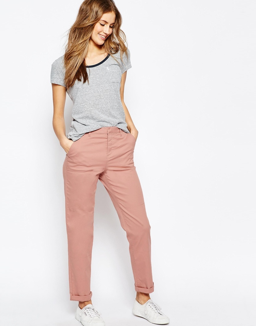 Casual Chino Trousers With Roll Hem Dusty Pink - length: standard; pattern: plain; waist: mid/regular rise; predominant colour: pink; occasions: casual; style: chino; fibres: cotton - stretch; texture group: cotton feel fabrics; fit: slim leg; pattern type: fabric; season: s/s 2016; wardrobe: highlight