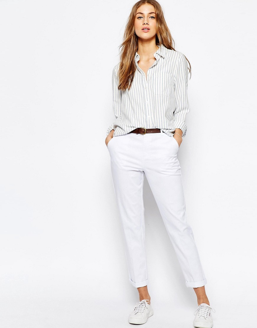 Chino Trousers With Belt White - pattern: plain; waist detail: belted waist/tie at waist/drawstring; waist: mid/regular rise; predominant colour: white; occasions: casual, holiday, creative work; length: ankle length; style: chino; fibres: cotton - stretch; fit: tapered; pattern type: fabric; texture group: woven light midweight; season: s/s 2016; wardrobe: basic