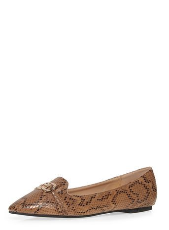 Snake Print Chain Detail Pump - predominant colour: camel; secondary colour: black; occasions: casual, creative work; material: faux leather; heel height: flat; toe: pointed toe; style: ballerinas / pumps; finish: patent; pattern: animal print; embellishment: chain/metal; multicoloured: multicoloured; season: s/s 2016; wardrobe: highlight
