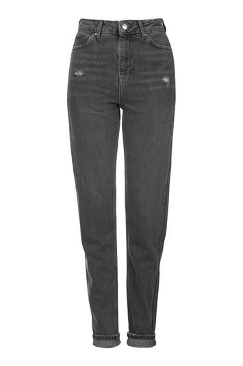 Petite Grey Mom Jeans - length: standard; pattern: plain; pocket detail: traditional 5 pocket; waist: mid/regular rise; style: tapered; predominant colour: charcoal; occasions: casual; fibres: cotton - 100%; jeans detail: whiskering, rips; texture group: denim; pattern type: fabric; season: s/s 2016